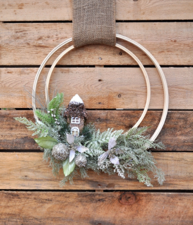 A winter holiday woodland wreath rustic home decor