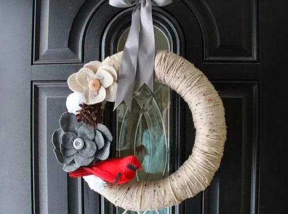 A beautiful winter wreath for the porch outdoor decor