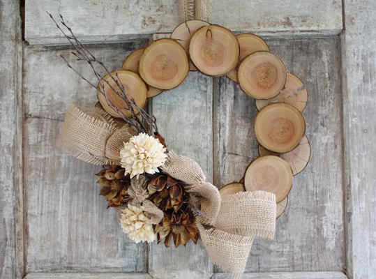 An adorable wood and burlap natural fall wreath holiday outdoor decor