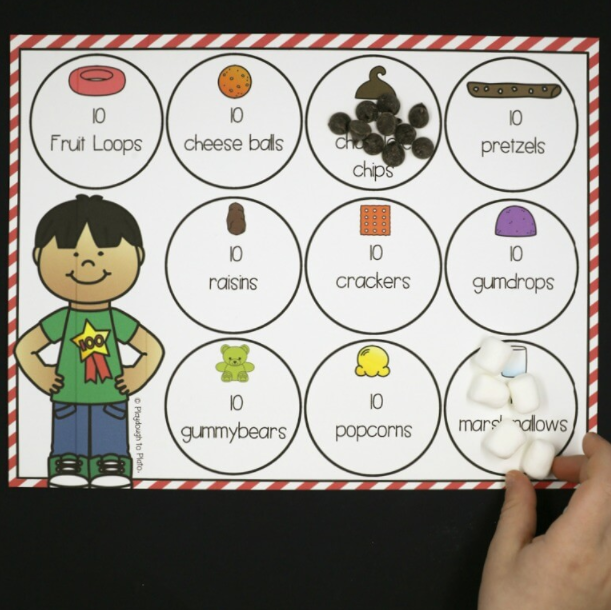 place mat with 10 circles each one to hold 10 items like fruit loops, raisins, and crackers