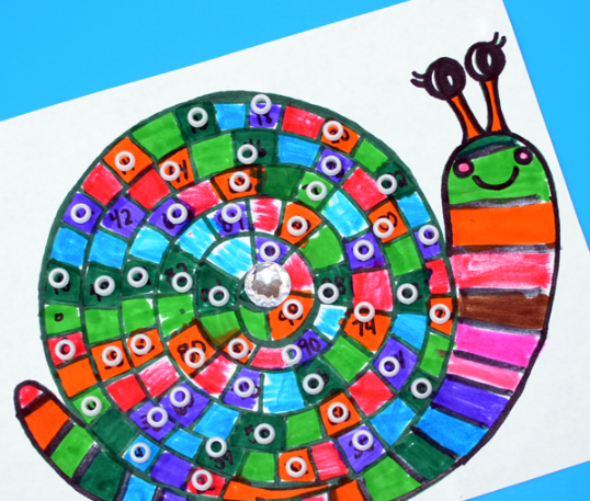drawing of a snail using markers with 100 sections on its shell