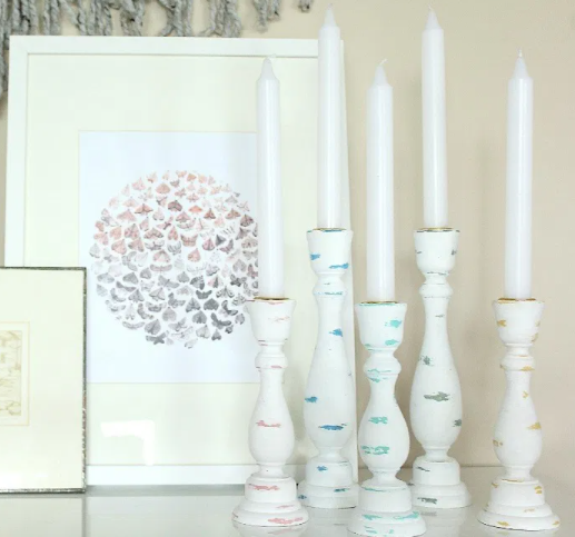 Cheap Second-Hand Colourfully-Distressed Wooden Candlesticks
