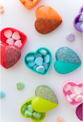 colorful glittered heart shaped boxes