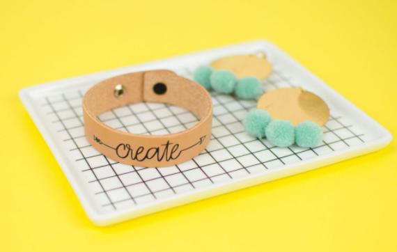 leather bracelet with vinyl design