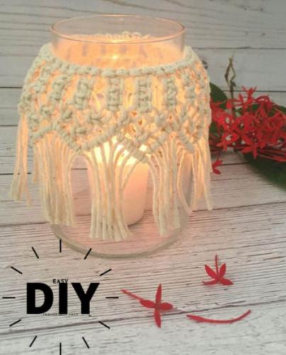 DIY Macrame Candle Holder Tutorial Home Decor