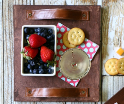 rustic leather wooden tray with handles