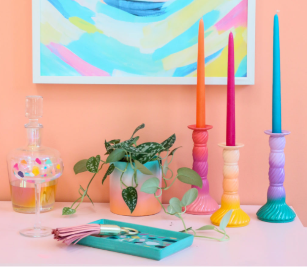 DIY THRIFTED OMBRE CANDLE HOLDERS COLORFUL HOME DECOR