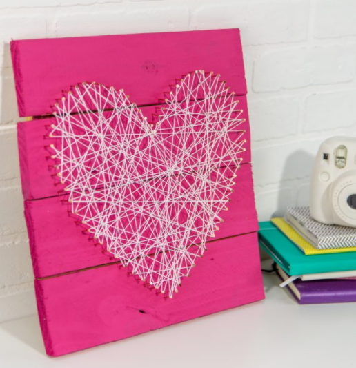 Heart shaped pallet string art perfect for Valentine's Day