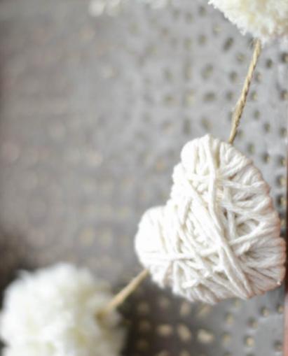 Yarn heart and pompom garland