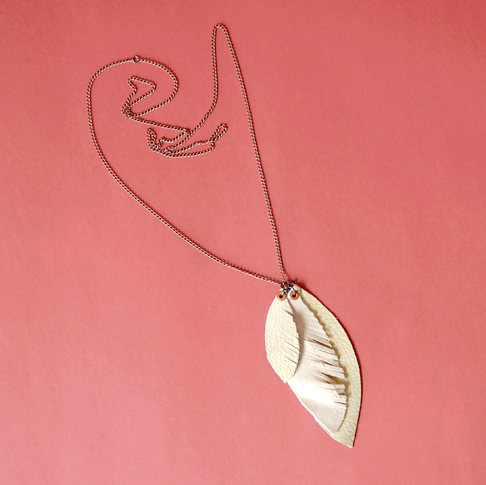 fringed leather feather necklace
