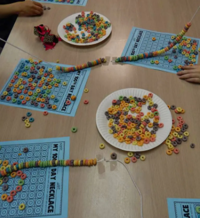 fruit loops cereal necklaces made with 100 pieces on each string
