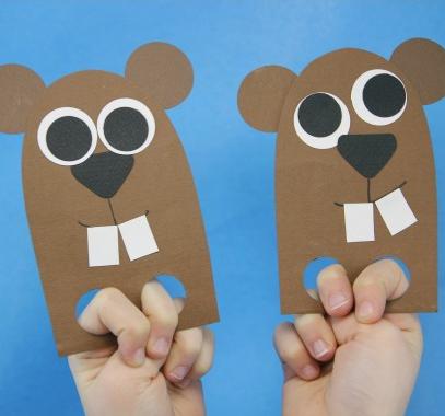 paper groundhog finger puppets