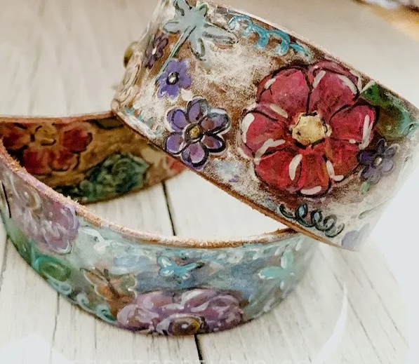 painted leather cuff bracelets
