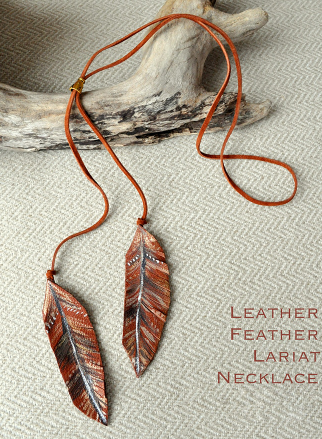 leather feather lariat necklace