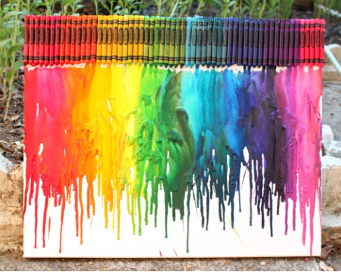 melted crayon painting with 100 crayons at the top