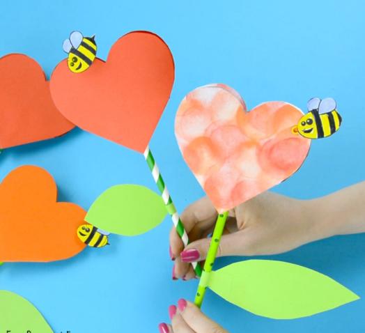 Paper Heart Flower Craft