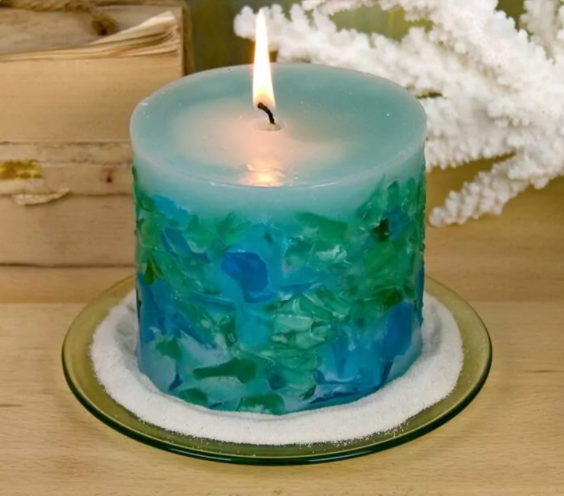 Sea Glass Candle: How To Make An Embedded Candle
