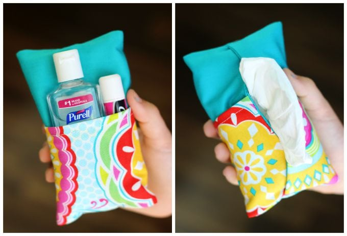 A two-sided tissue holder pouch, one side can hold a pack of tissues, the other side can hold a mini bottle of sanitizer and a lip gloss