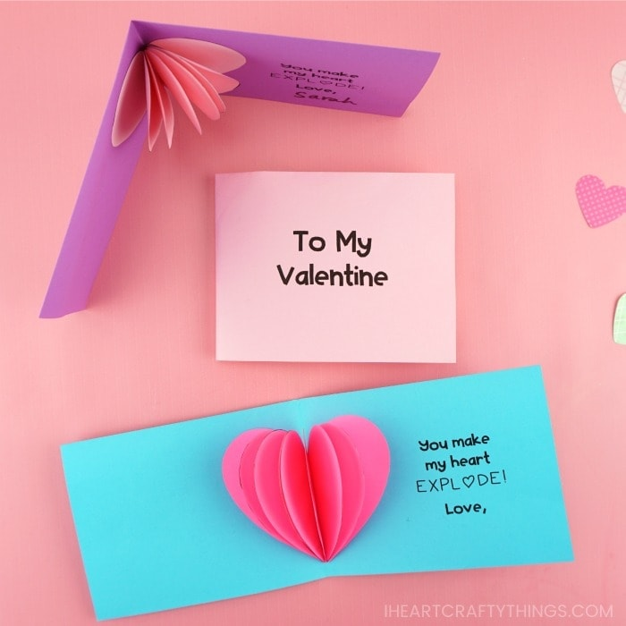 3D Valentines day cards says To my valentine and you make my heart EXPL heart shape DE! Love,