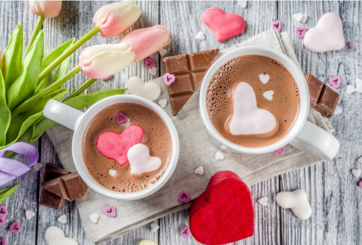 heart shaped valentine's day hot chocolate bombs