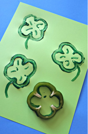 Shamrock stamp using a bell pepper