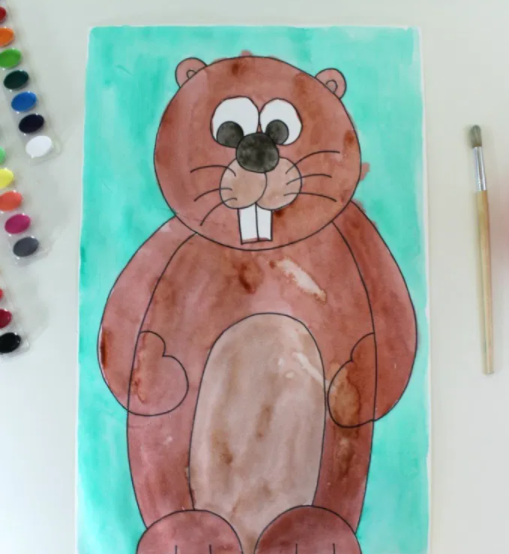 painting of a groundhog