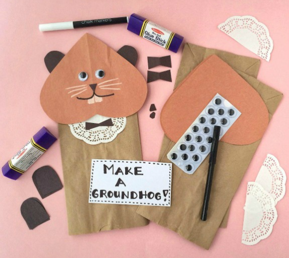 paper bag and construction paper groundhog puppet with googly eyes