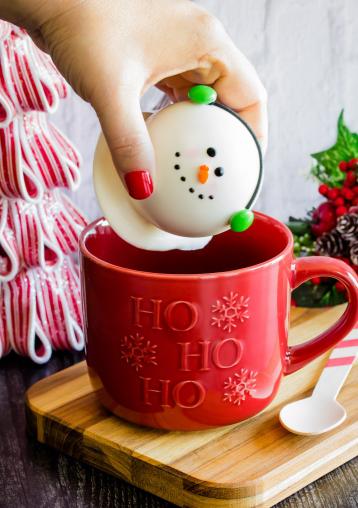 snowman face shaped hot cocoa bomb