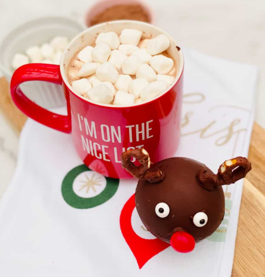 rudolph the reindeer shaped hot chocolate bomb