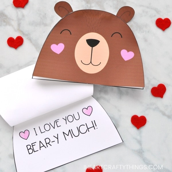Bear Valentine card with a saying heart shape I Love you heart shape bear-y much!