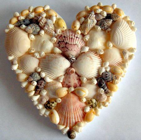 Heart shaped made from seashells