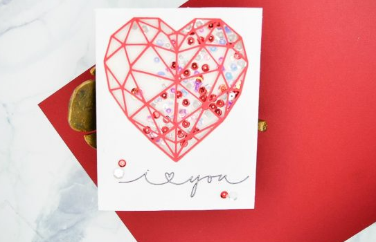 Heart shaped shaker card with sequins inside, text says i heart shape you