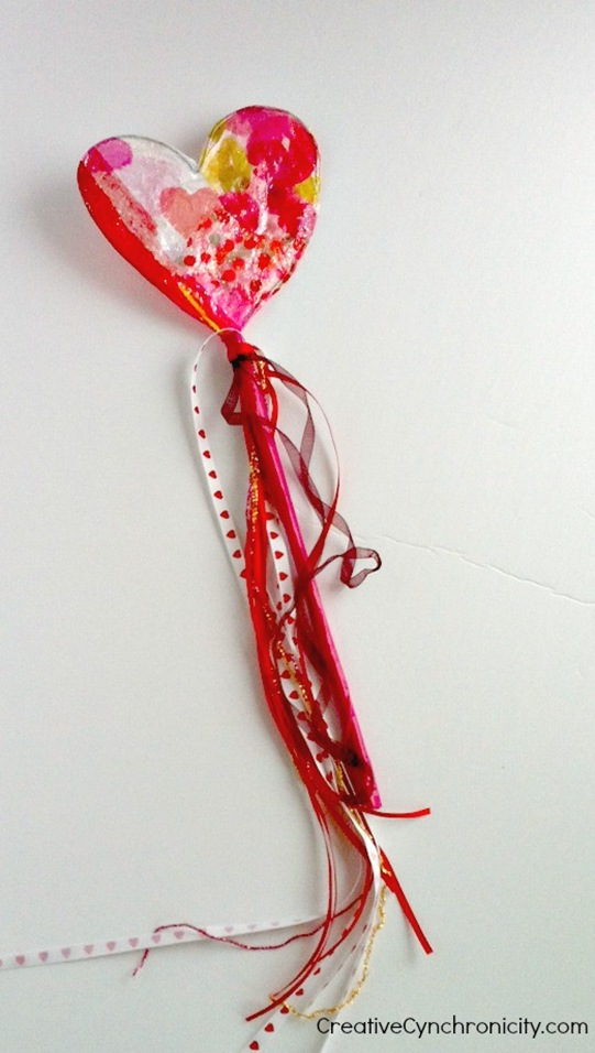 Valentine's day sparkly heart wand with sparkles and streamers