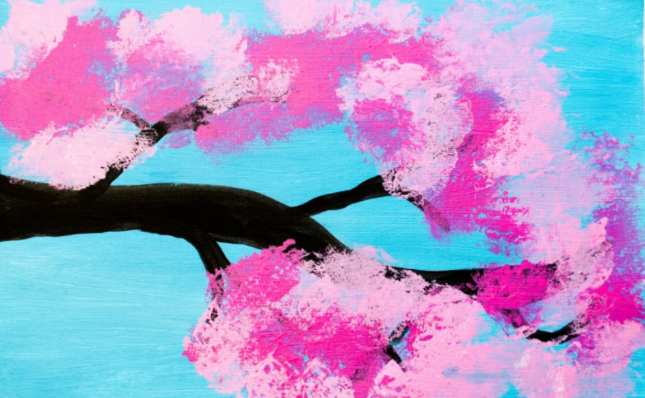 Cotton candy looking cherry blossom painting