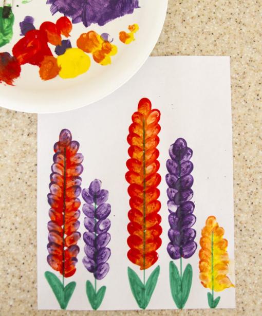 Fingerprinted snapdragon flowers