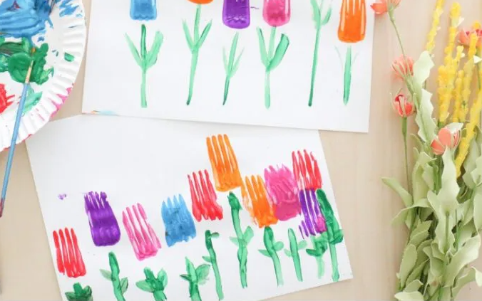 Fork stamped tulips