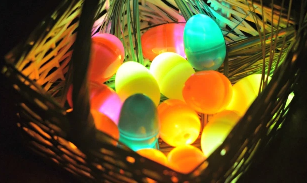 Glow in the dark Easter eggs on a basket