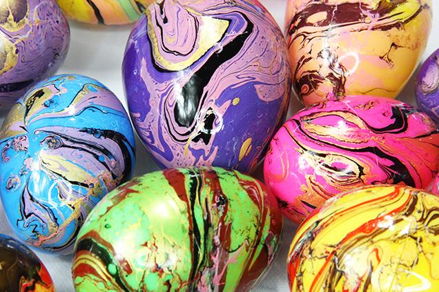 Marbled plastic Easter eggs