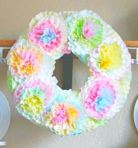 Pastel Spring Coffee filter wreath
