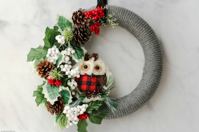 A cozy and comfortable homemade sweater wreath for holiday decor
