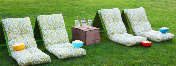 A cozy homemade outdoor movie theater seats