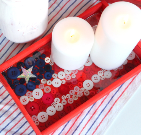 A patriotic home decor button flag tray holiday craft