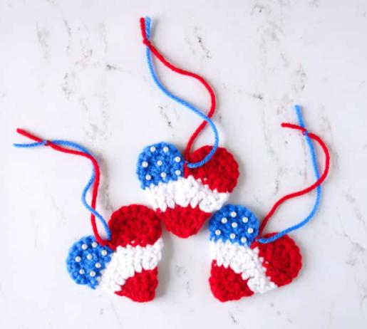 A handmade decor crochet patriotic heart ornament holiday craft