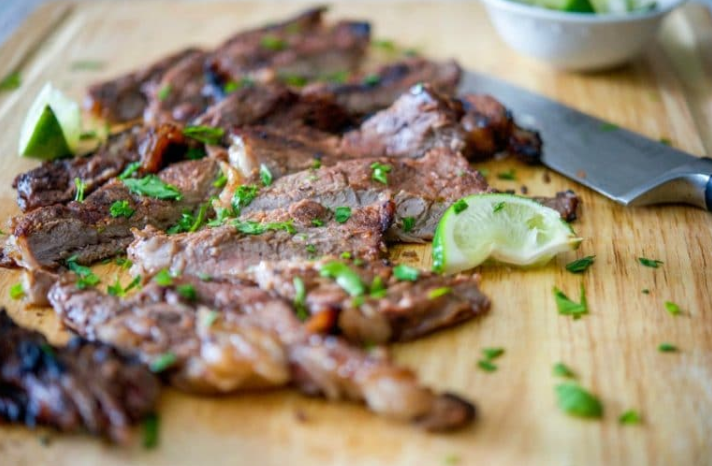 Rib eye steak marinated in cajun seasonings combined with fresh lime juice, honey and a light oil