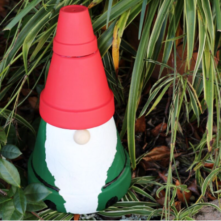 A cute and easy to make clay pot gnome statue for the garden display