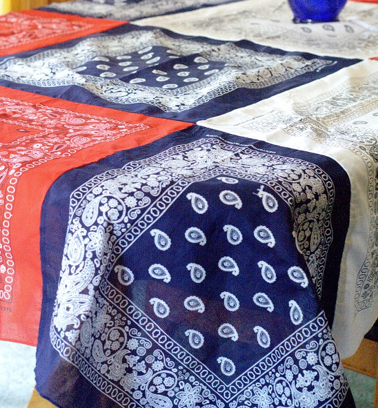 A patriotic red, white, and blue homemade bandana tablecloth holiday craft