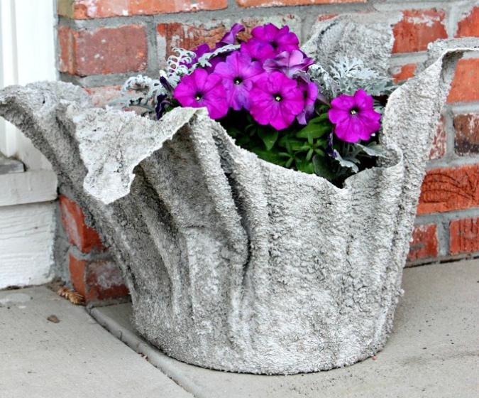 Homemade concrete planter summer gardening activity