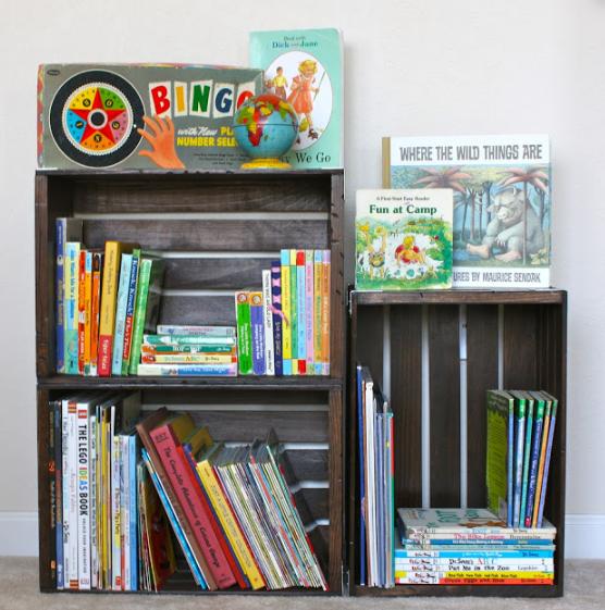DIY Crate Bookshelf little project for kids