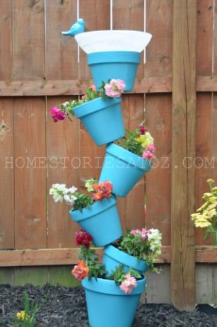 Homemade garden planter and bird bath project