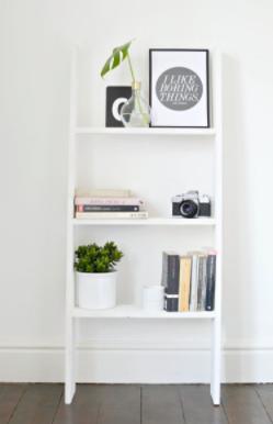 DIY ladder shelf home decor project